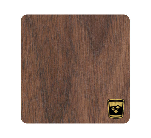 Whiskey Glass Wood and Metal Coaster Set of 4
