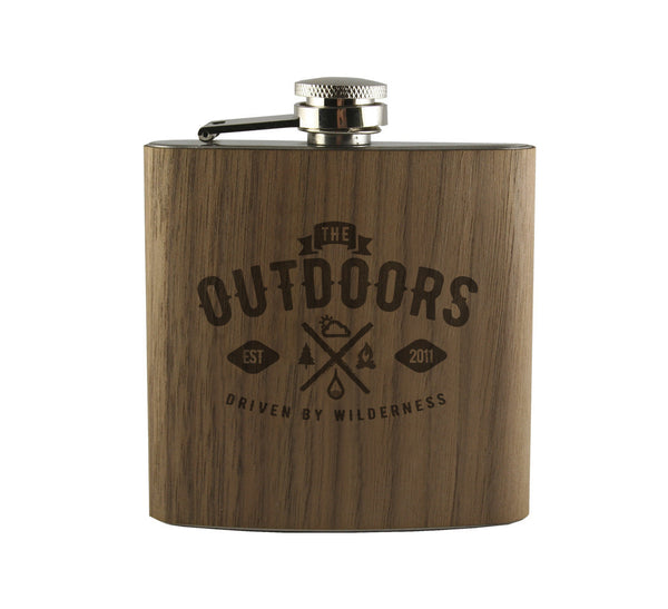 Driven by Wilderness Wood Wrapped Flask