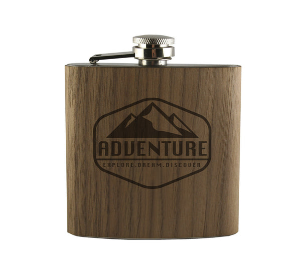 Explore Dream Discover Wood Wrapped Flask