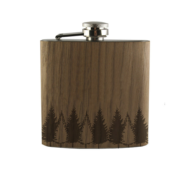 Tree Line Wood Wrapped Flask