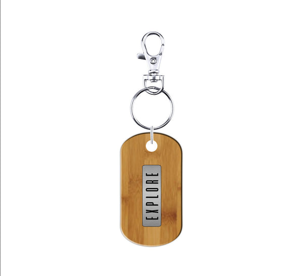 Explore Wood and Metal  Keychain