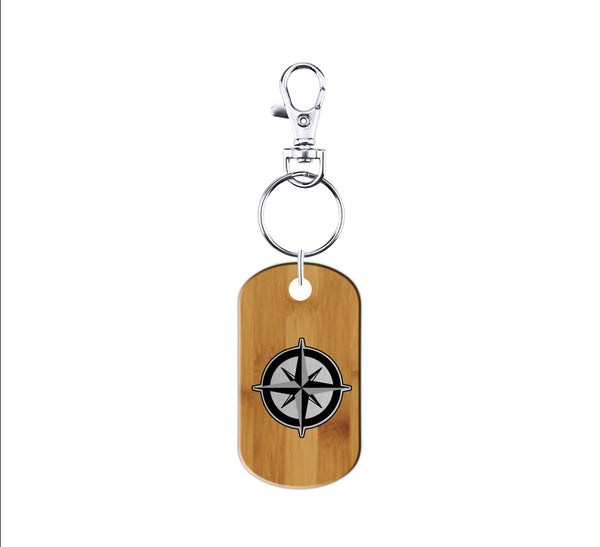 Compass Wood and Metal Keychain