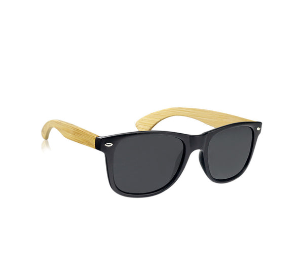 "Black & Blonde Bamboo ""Tabor"" Sunglasses with Polarized Lenses"