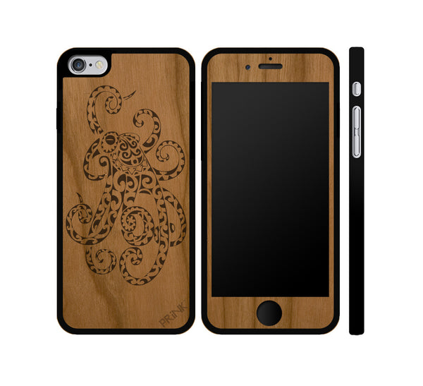 """Octopus"" - cherry wood iPhone case"
