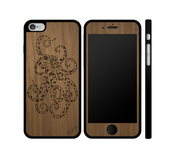 """Octopus"" - walnut wood iPhone case"
