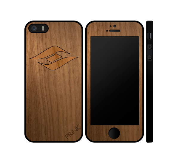 """Hyperlite Logo"" design - walnut wood inlay iPhone case"