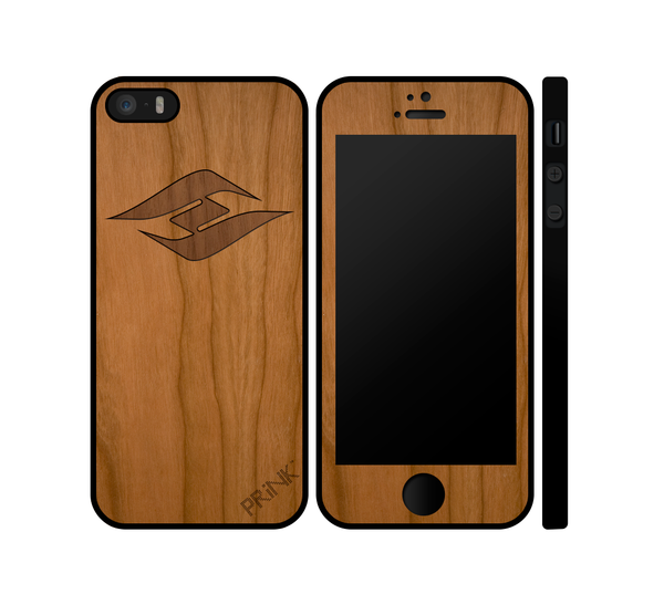 """Hyperlite Logo"" design - cherry wood inlay iPhone case"