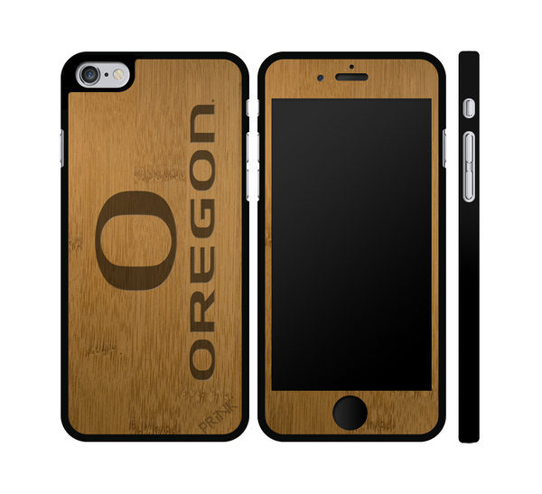 """University of Oregon 'O' and Block"" - bamboo iPhone case"