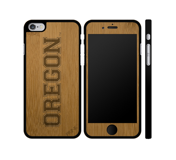 """University of Oregon Block Letter"" - bamboo iPhone case"