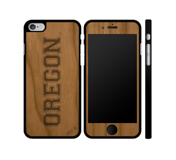 """University of Oregon Block Letter"" - cherry wood iPhone case"