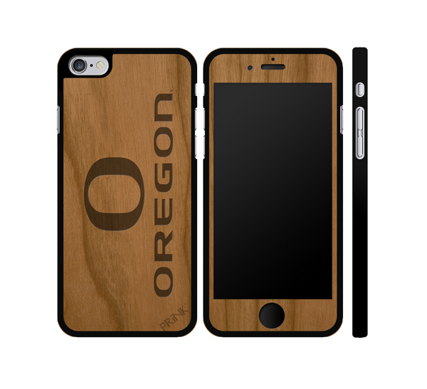 """University of Oregon 'O' and Block"" - cherry wood iPhone case"