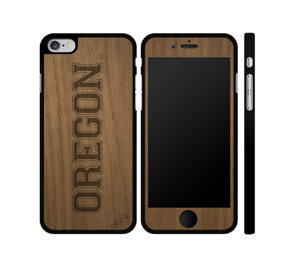 """University of Oregon Block Letter"" - walnut wood iPhone case"