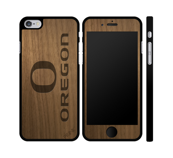 """University of Oregon 'O' and Block"" - walnut wood iPhone case"