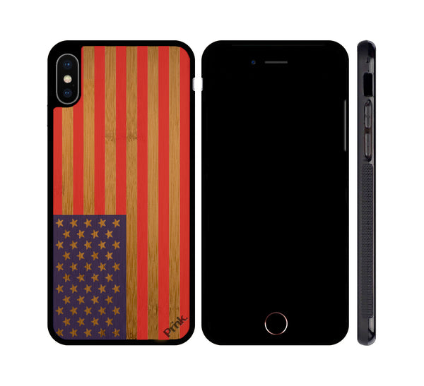 American Flag Color on Wood iPhone or Galaxy Case