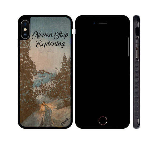 Never Stop Exploring Wood iPhone or Galaxy Case