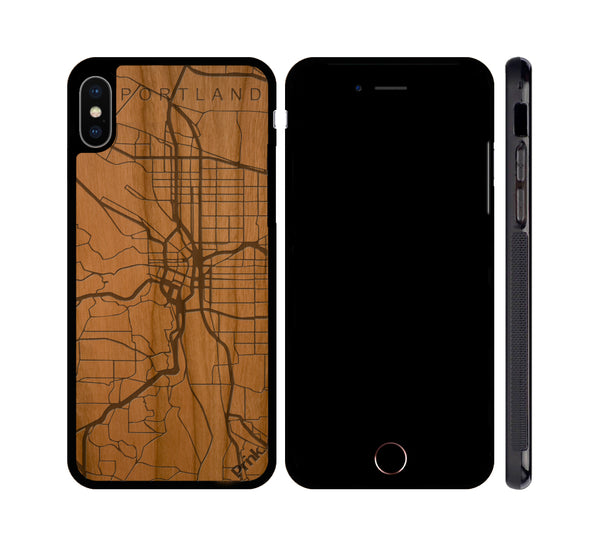 Portland City Map Wood iPhone or Galaxy Case