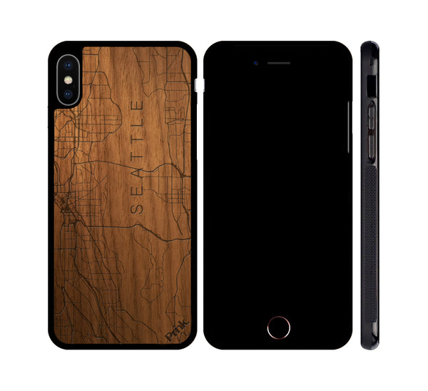Seattle City Map Wood iPhone or Galaxy Case