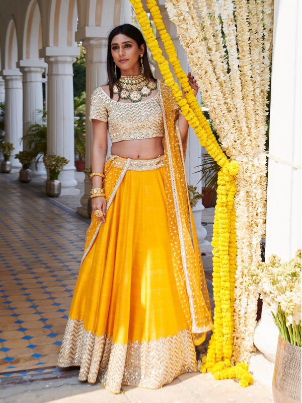 Yellow Raw Silk Lehenga Set