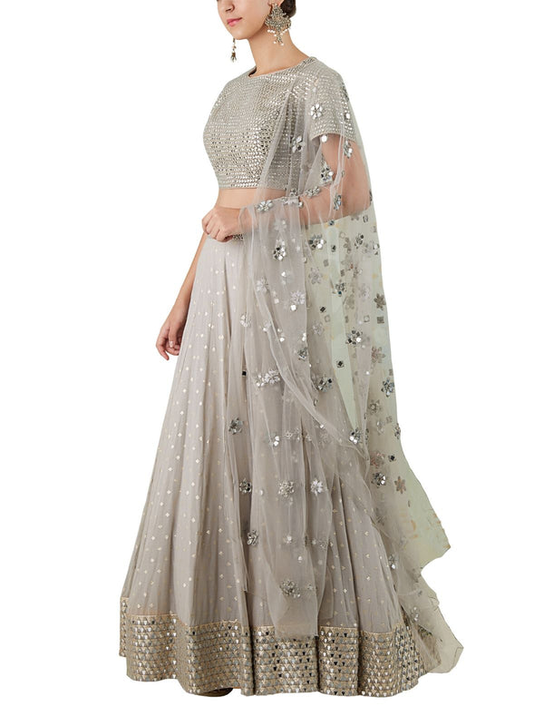 grey embellished lehenga set