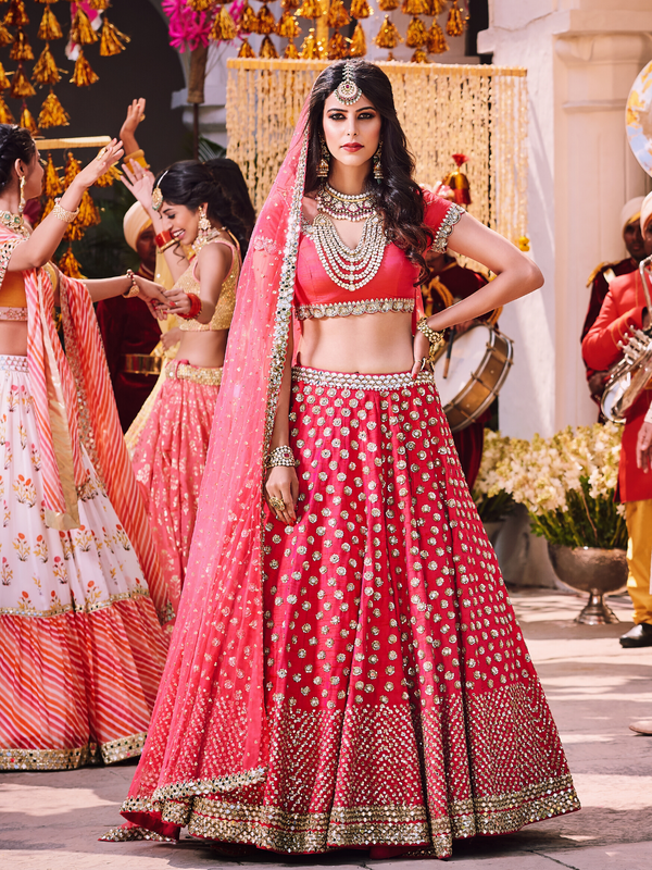 Red Lehenga Set With Net Dupatta