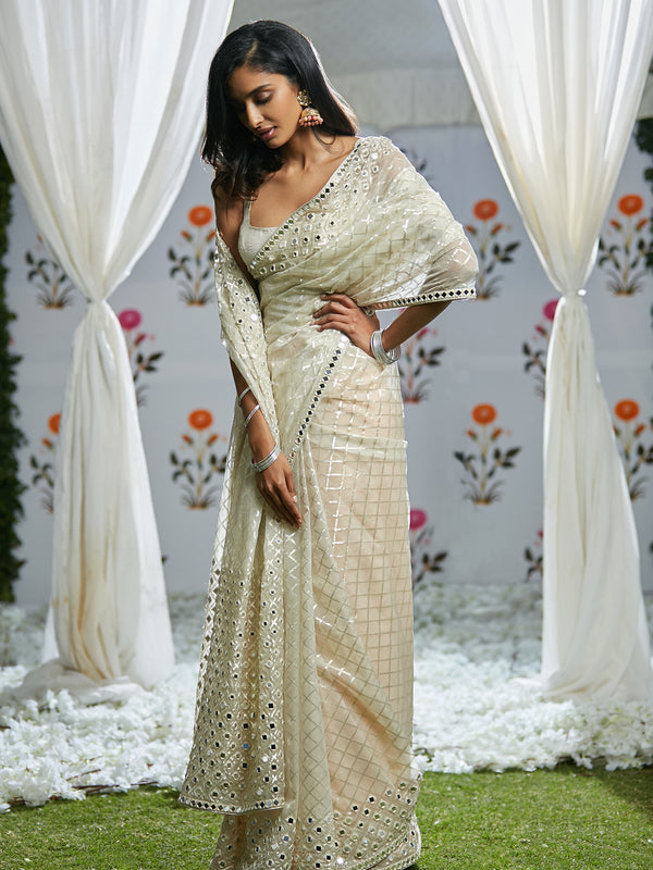 Ivory Mirror Work Saree