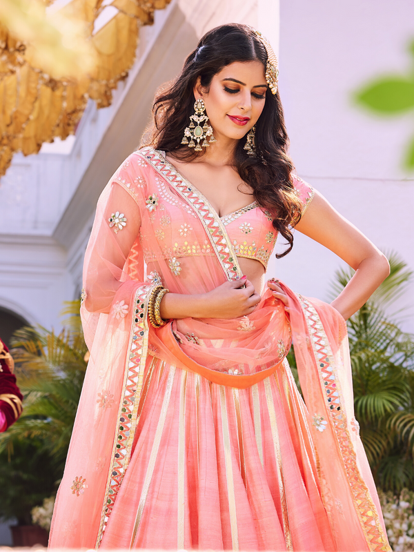 Pink Hand Embroidered Lehenga Set