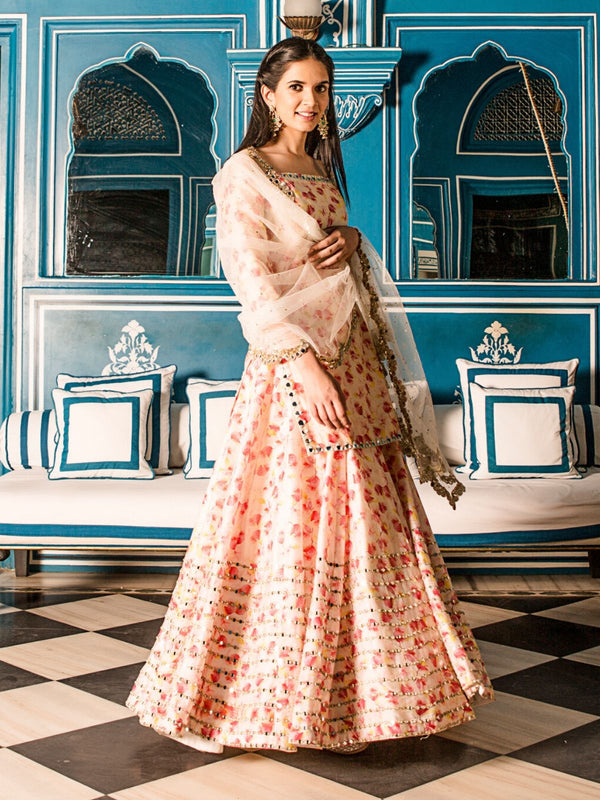 Ivory Printed Kurta And Skirt Set