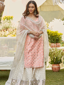 Ivory And Pink Sharara Set