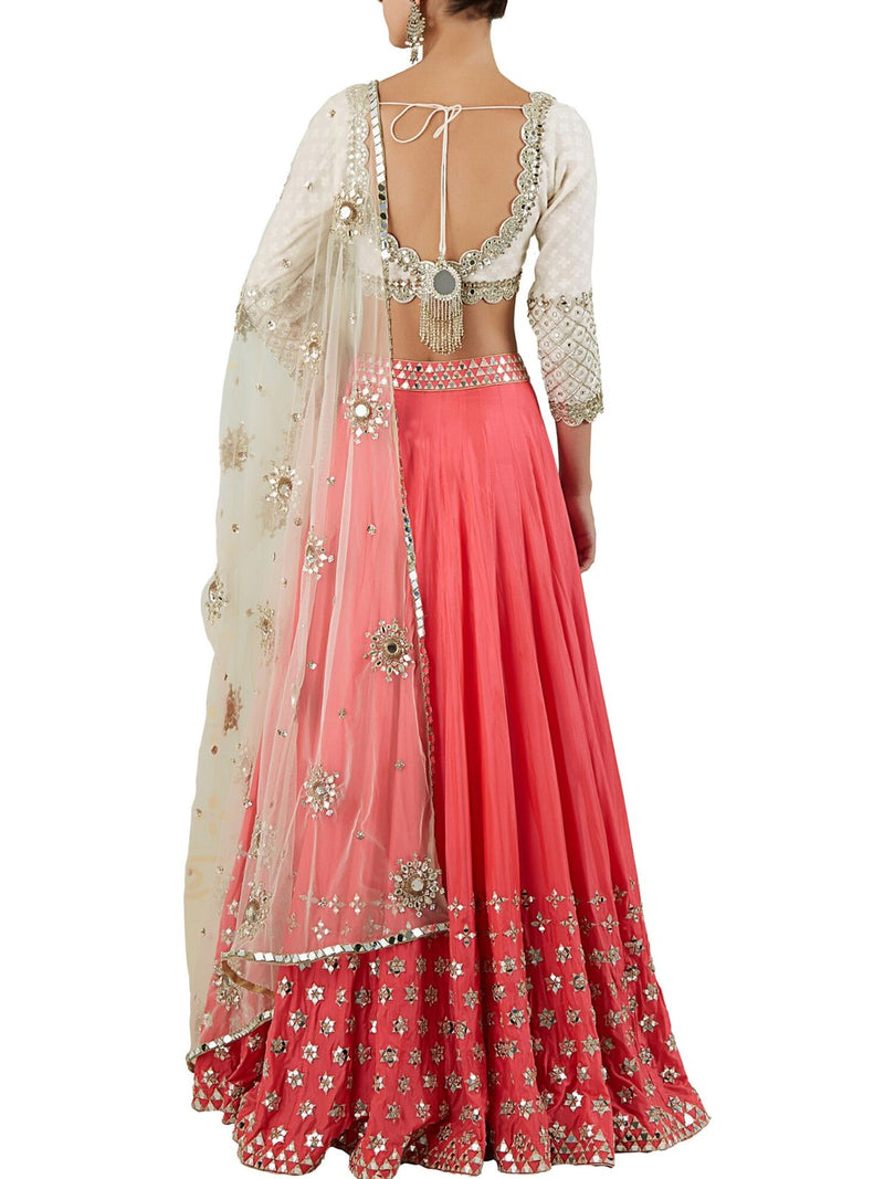 Ivory and peach lehenga set