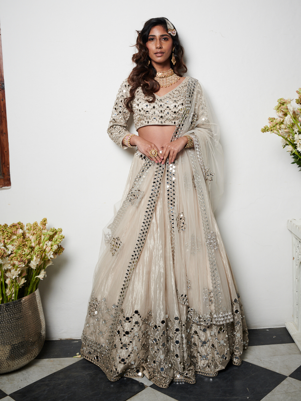 Silver And Ivory Embellished Lehenga
