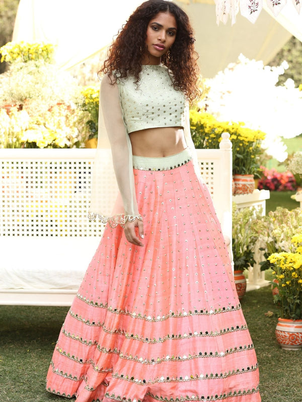 Pink And Mint Green Lehenga Set