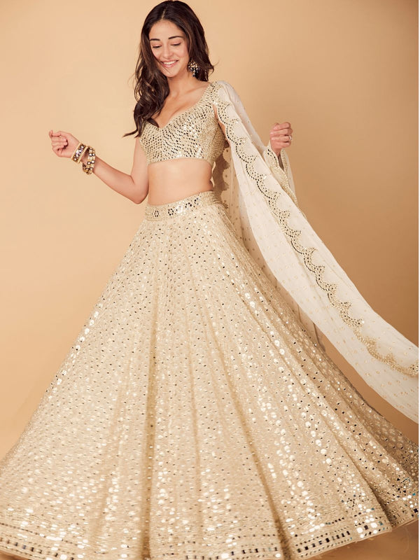Ivory Mirror Work Lehenga Set as seen on Ananya Pandey