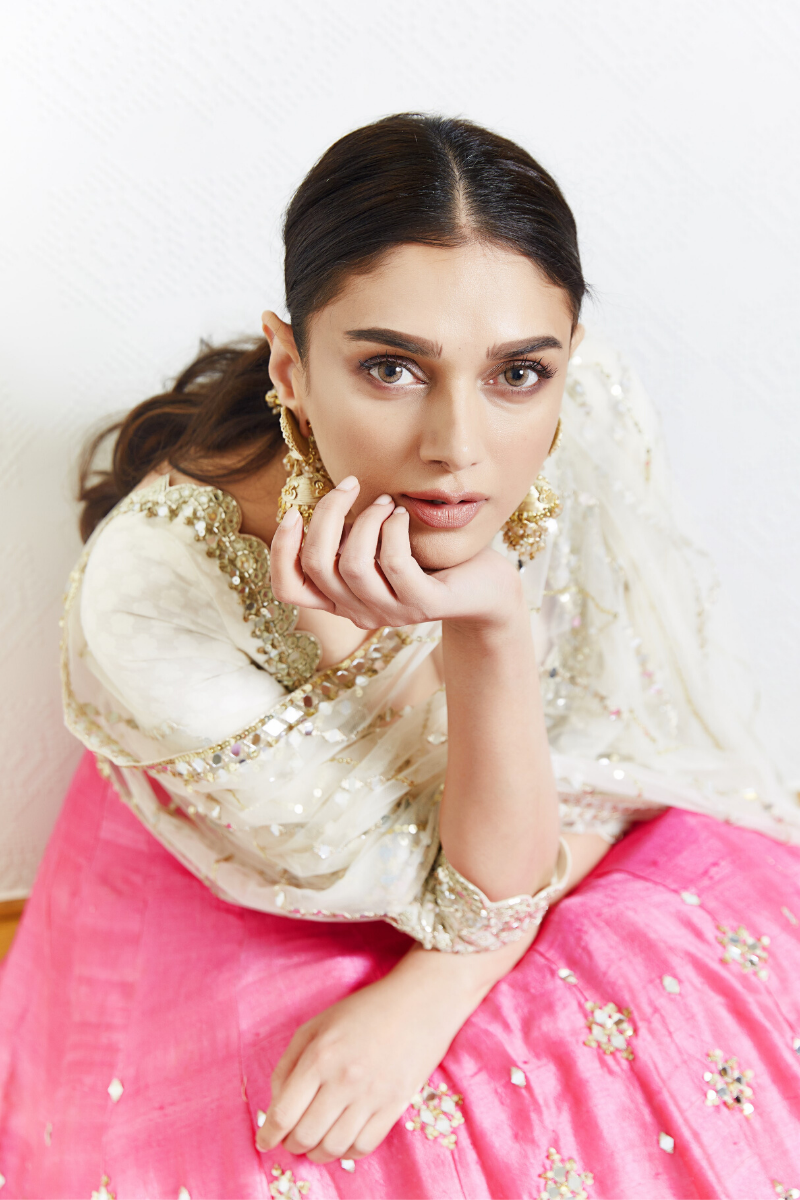 Ivory & Pink Mirror-Work Lehenga as seen on Aditi Rao Hydari