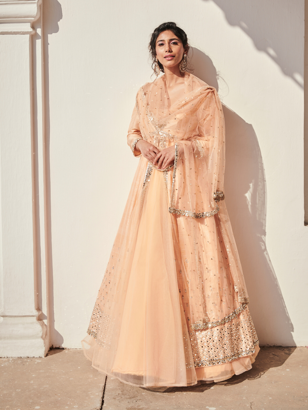 Peach Embellished Jacket & Lehenga Set