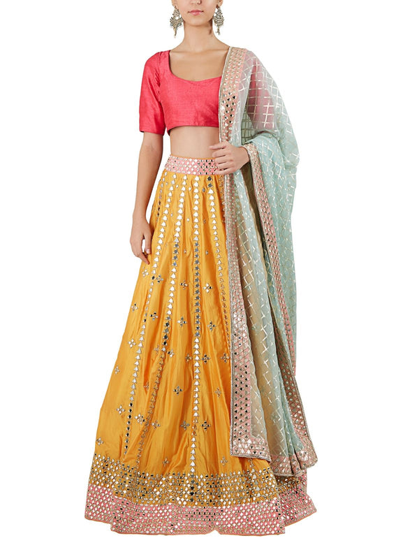 Pink and yellow lehenga set