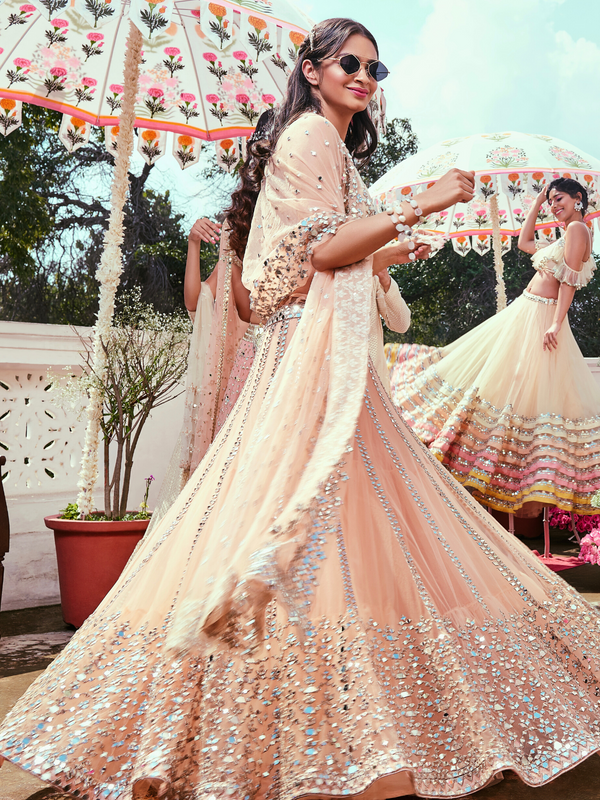 Peach Mirror Work Lehenga Set