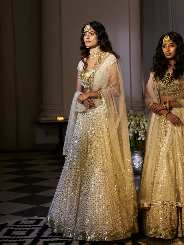 Ivory Sequins And Mirror-Work  Lehenga Set