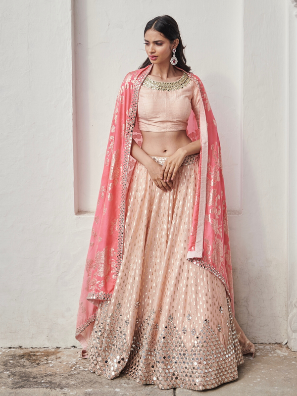 Peach Lehenga Set With Pink Dupatta