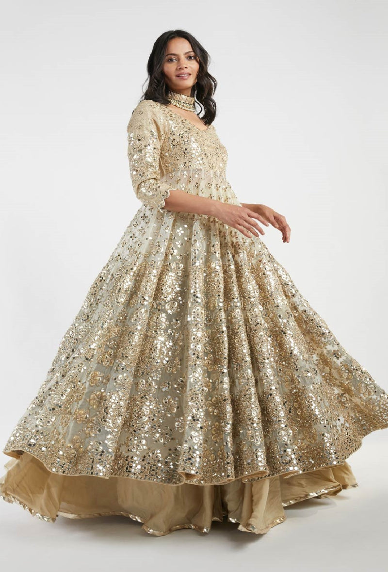 Beige and Golden Embelished  Lehenga Set