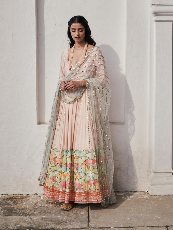 Baby Pink Scalloped Anarkali Set