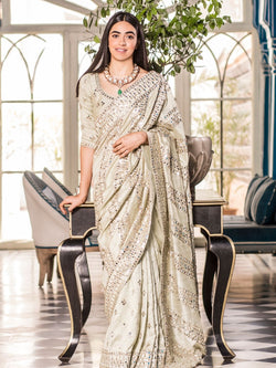 Mint Green Embellished Saree