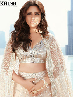 Ivory embellished lehenga set as seen on parineeti chopra