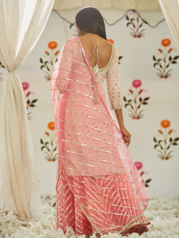 Pink And Ivory Sharara Set