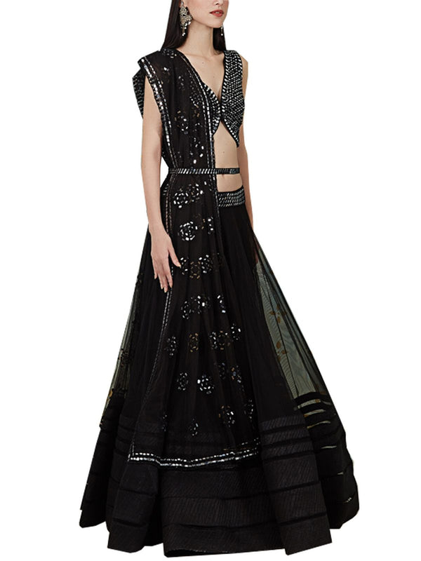 black embellished lehenga set
