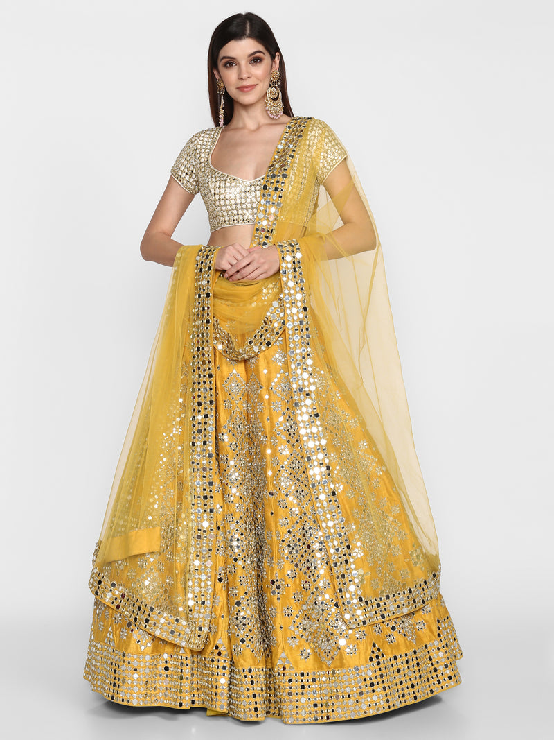 Yellow and Ivory Lehenga Set