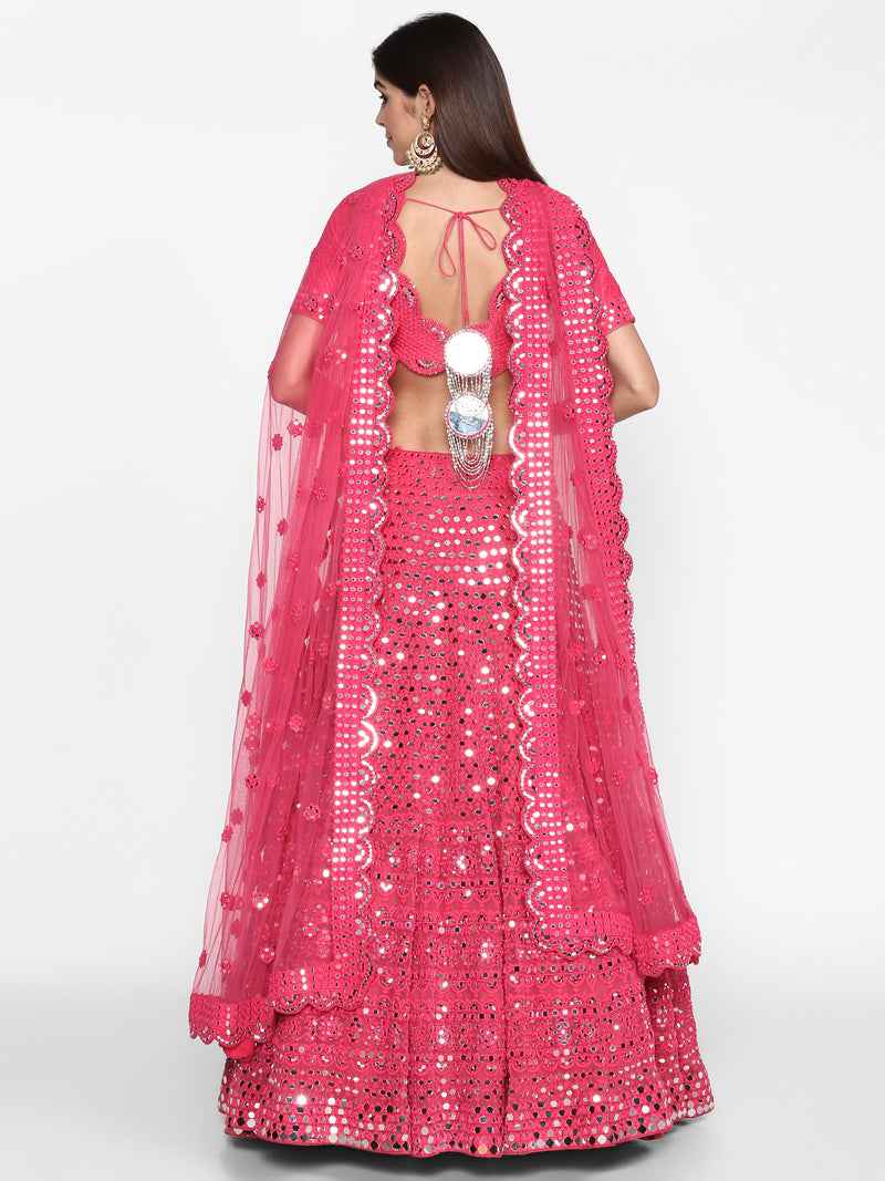 Hot Pink Embellished Lehenga Set