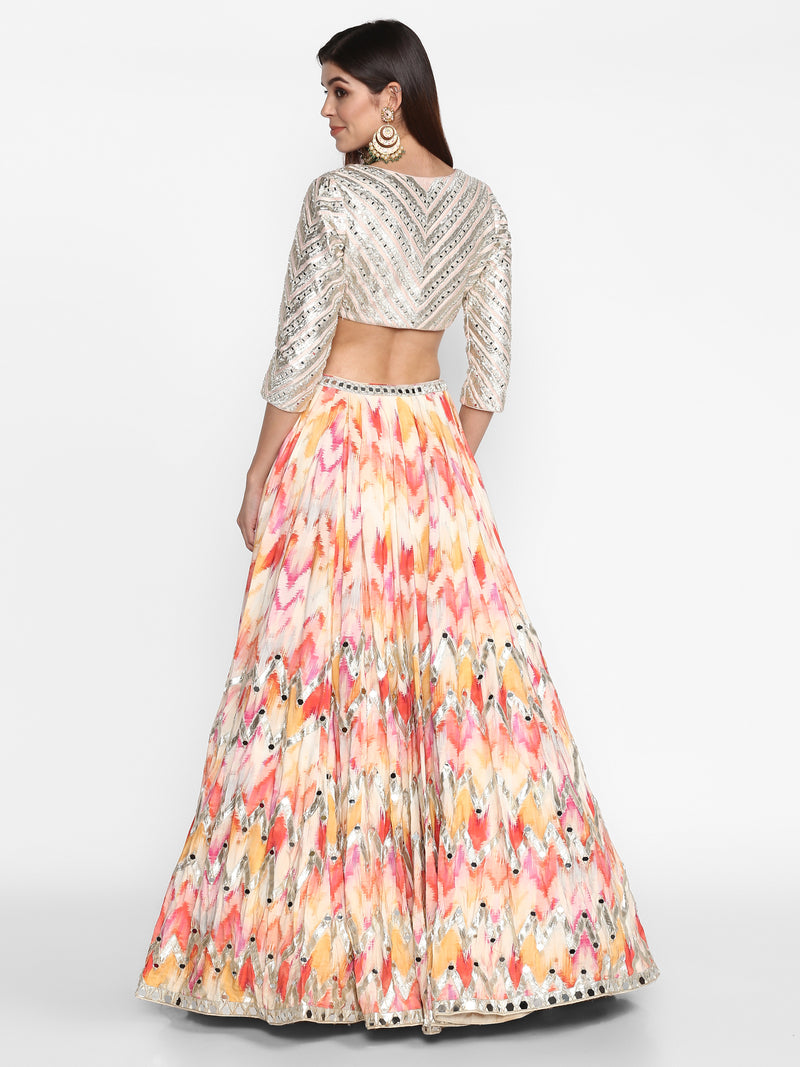 Multicoloured Embellished Lehenga Set