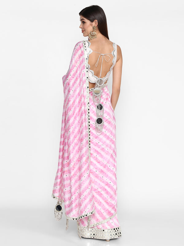 Ivory And Pink Printed Saree