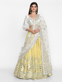 Ivory and Yellow Lehenga set