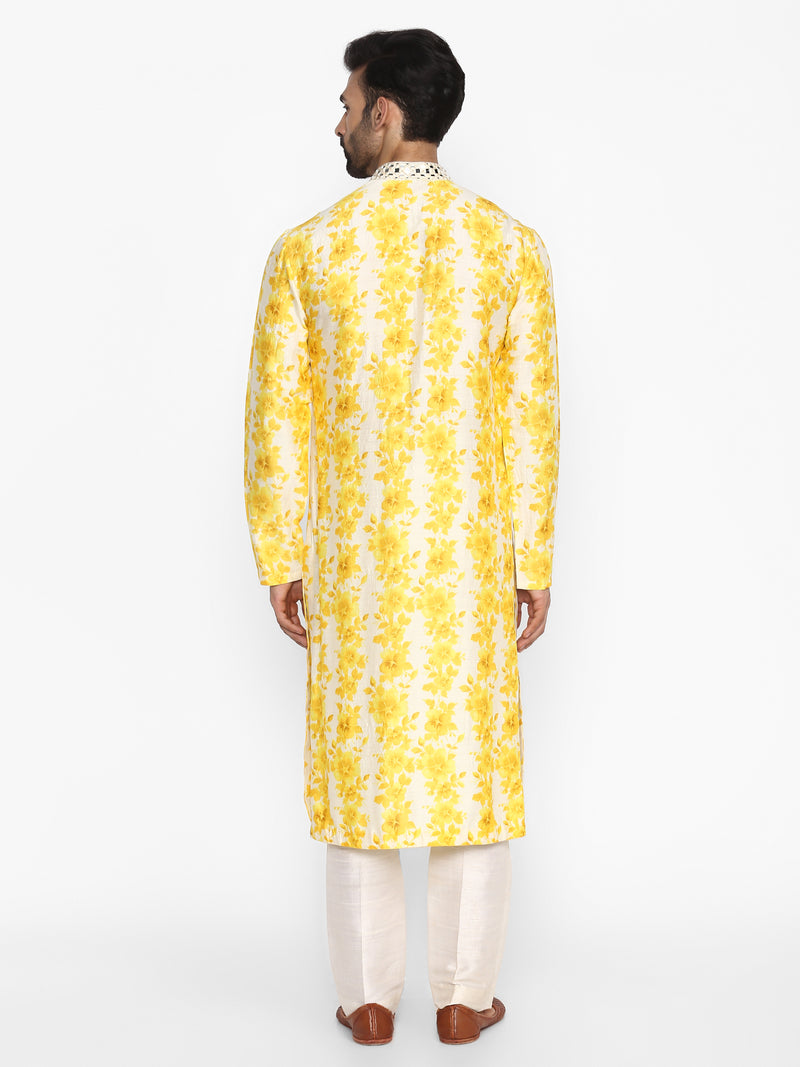 Yellow & Ivory Printed Kurta